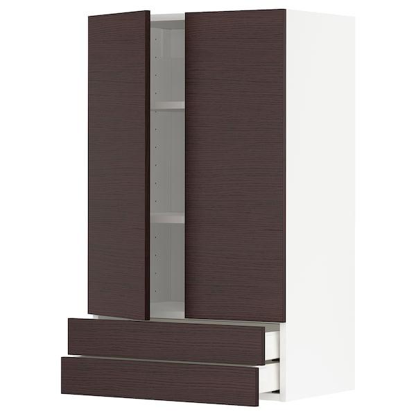 METOD / MAXIMERA Wall cabinet w 2 doors/2 drawers, white Askersund/dark brown ash effect, 60x100 cm