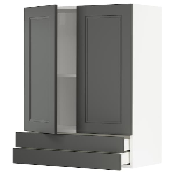 METOD / MAXIMERA Wall cabinet w 2 doors/2 drawers, white/Axstad dark grey, 80x100 cm