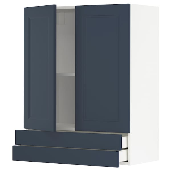 METOD / MAXIMERA Wall cabinet w 2 doors/2 drawers, white Axstad/matt blue, 80x100 cm