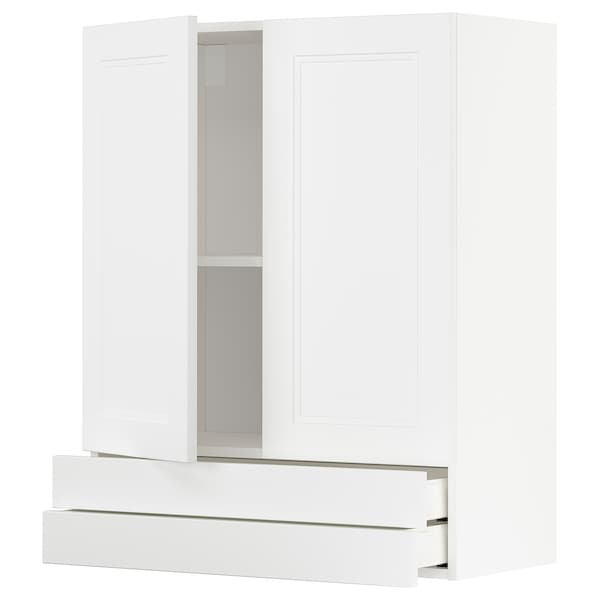 METOD / MAXIMERA Wall cabinet w 2 doors/2 drawers, white/Axstad matt white, 80x100 cm