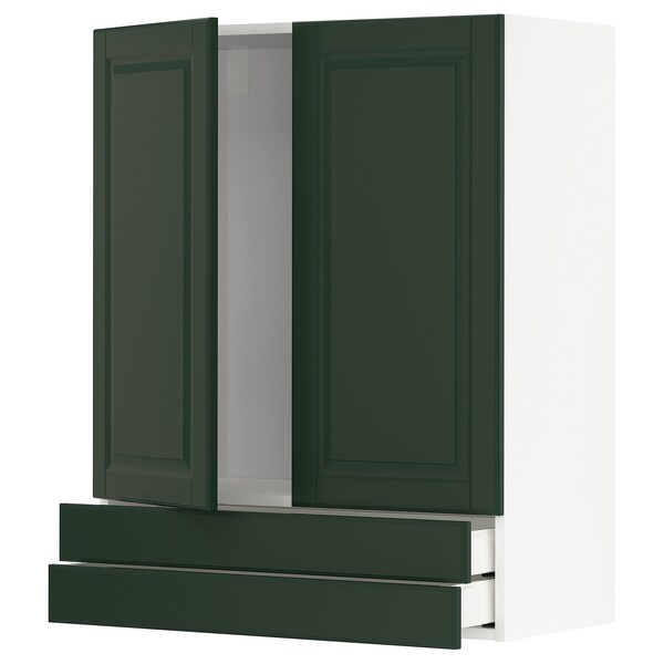 METOD / MAXIMERA Wall cabinet w 2 doors/2 drawers, white/Bodbyn dark green, 80x100 cm