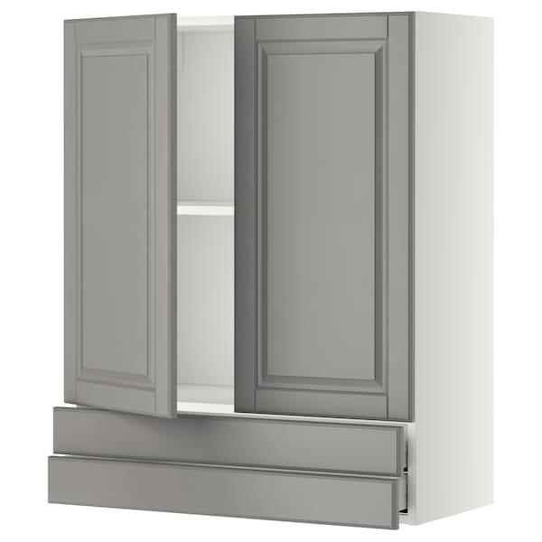METOD / MAXIMERA Wall cabinet w 2 doors/2 drawers, white/Bodbyn grey, 80x100 cm