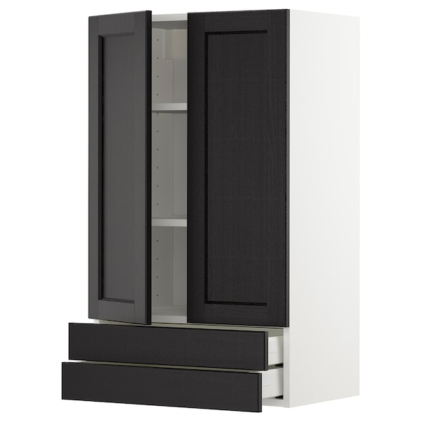 METOD / MAXIMERA Wall cabinet w 2 doors/2 drawers, white/Lerhyttan black stained, 60x100 cm
