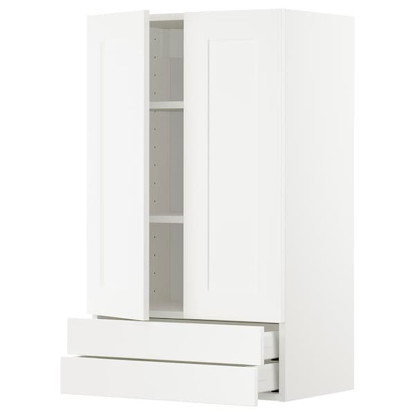 METOD / MAXIMERA Wall cabinet w 2 doors/2 drawers, white/Sävedal white, 60x100 cm