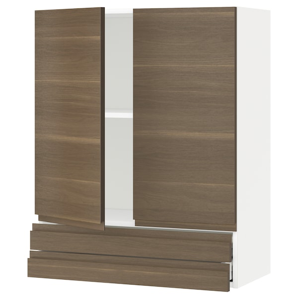 METOD / MAXIMERA Wall cabinet w 2 doors/2 drawers, white/Voxtorp walnut effect, 80x100 cm