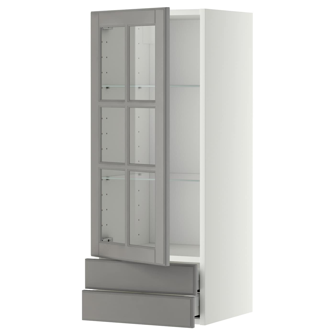 ikea kitchen wall cabinets with glass doors metod maximera wall cabinet w glass door 2 drawers white 17701