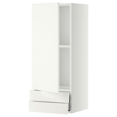 METOD / MAXIMERA wall cabinet with door/2 drawers white/Häggeby white 40.0 cm 38.6 cm 100.0 cm