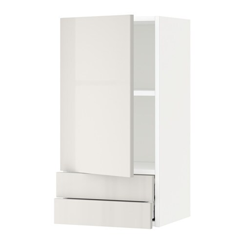 IKEA METOD/MAXIMERA wall cabinet with door/2 drawers Sturdy frame construction, 18 mm thick.