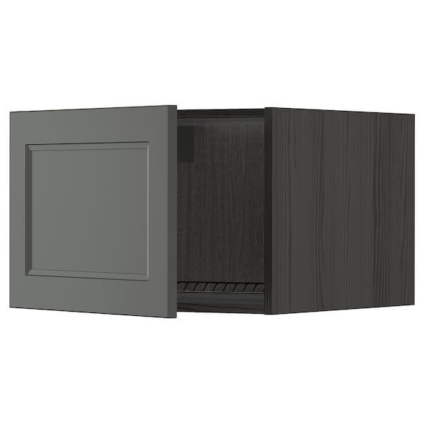 METOD top cabinet to fridge/freezer black/Axstad dark grey 60.0 cm 61.9 cm 40.0 cm