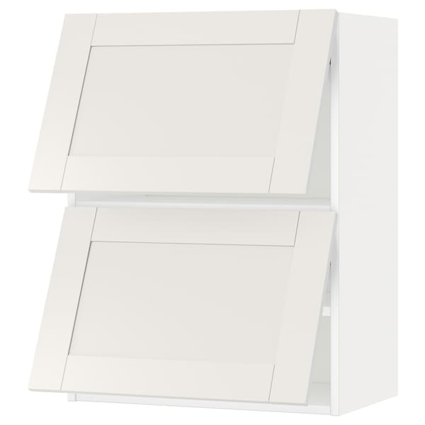METOD Wall cab horizo 2 doors w push-open, white/Sävedal white, 60x80 cm