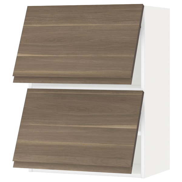 METOD Wall cab horizo 2 doors w push-open, white/Voxtorp walnut effect, 60x80 cm