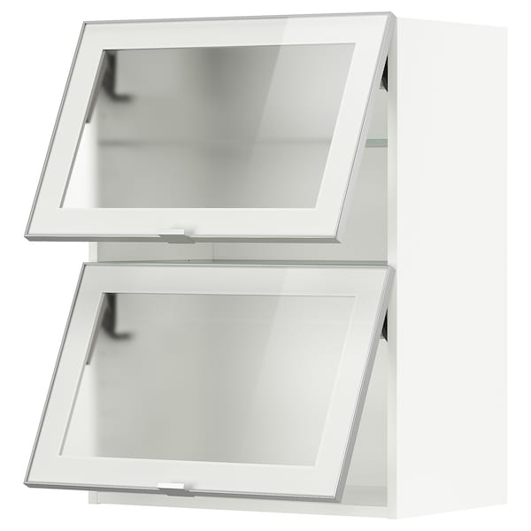 METOD Wall cab horizontal w 2 glass doors, white/Jutis frosted glass, 60x80 cm