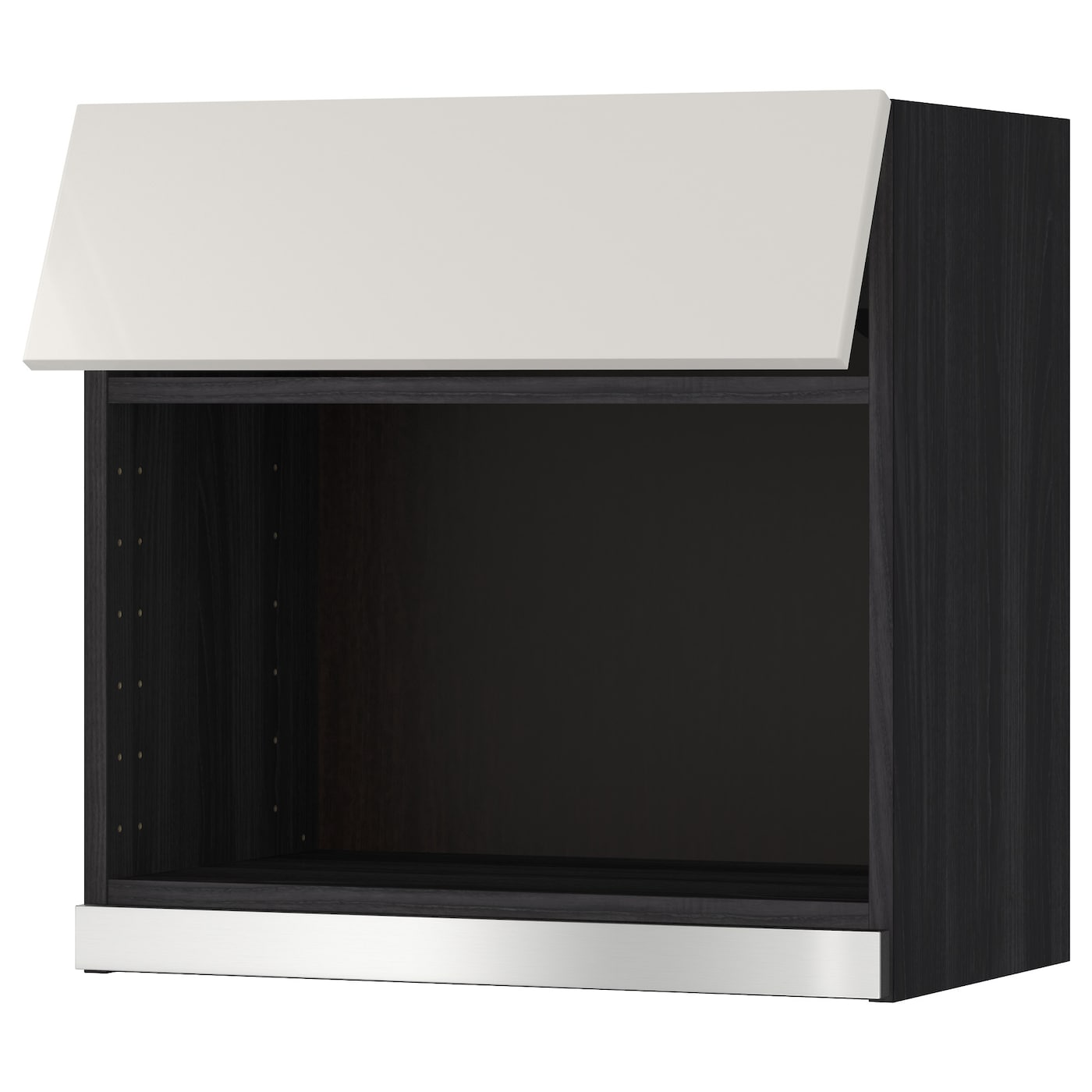 Metod wall cabinet for microwave oven black ringhult light for Who makes ikea microwaves
