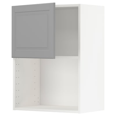 METOD Wall cabinet for microwave oven, white/Bodbyn grey, 60x80 cm