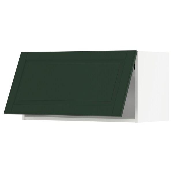 METOD Wall cabinet horizontal, white/Bodbyn dark green, 80x40 cm