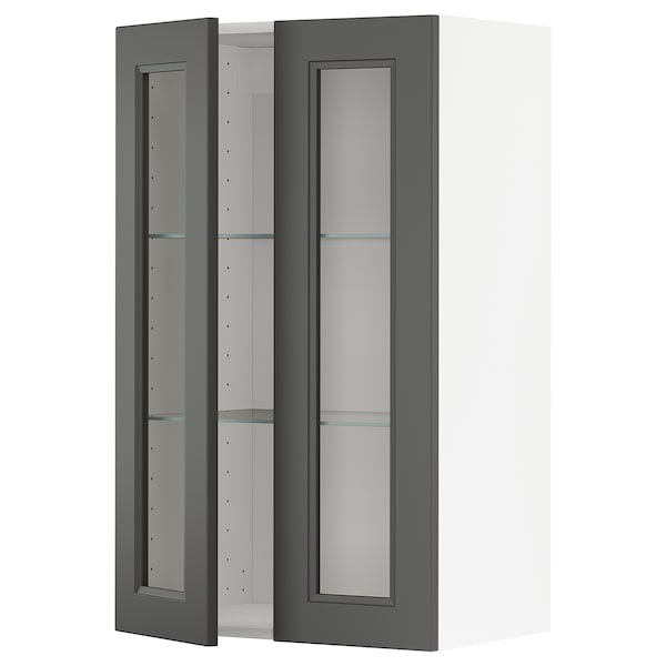 METOD Wall cabinet w shelves/2 glass drs, white/Axstad dark grey, 60x100 cm