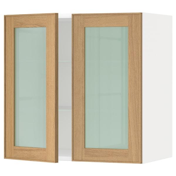 METOD wall cabinet w shelves/2 glass drs white/Ekestad oak 60.0 cm 38.9 cm 60.0 cm
