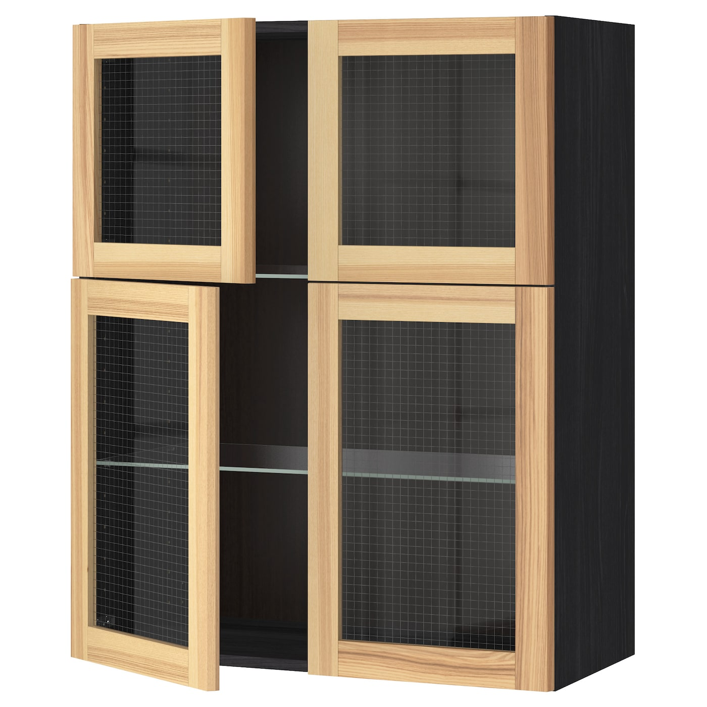Metod wall cabinet w shelves 4 glass drs black torhamn ash for Glass kitchen wall units
