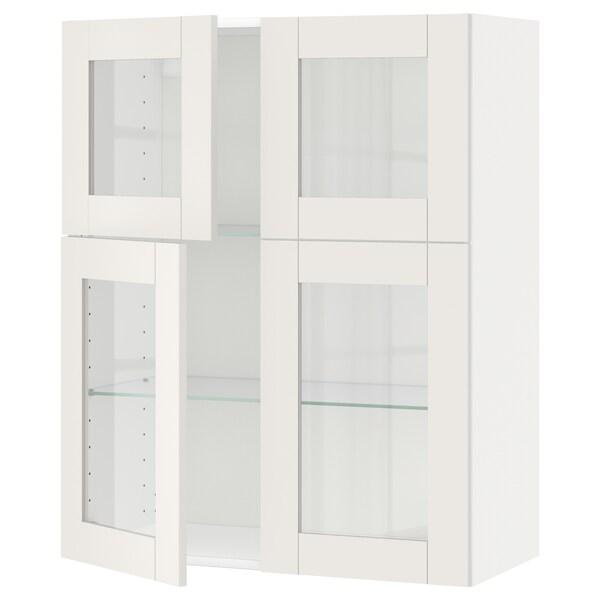 METOD wall cabinet w shelves/4 glass drs white/Sävedal white 80.0 cm 38.8 cm 100.0 cm