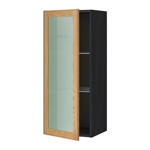 Metod wall cabinet w shelves glass door black ekestad oak for Oak effect kitchen wall units