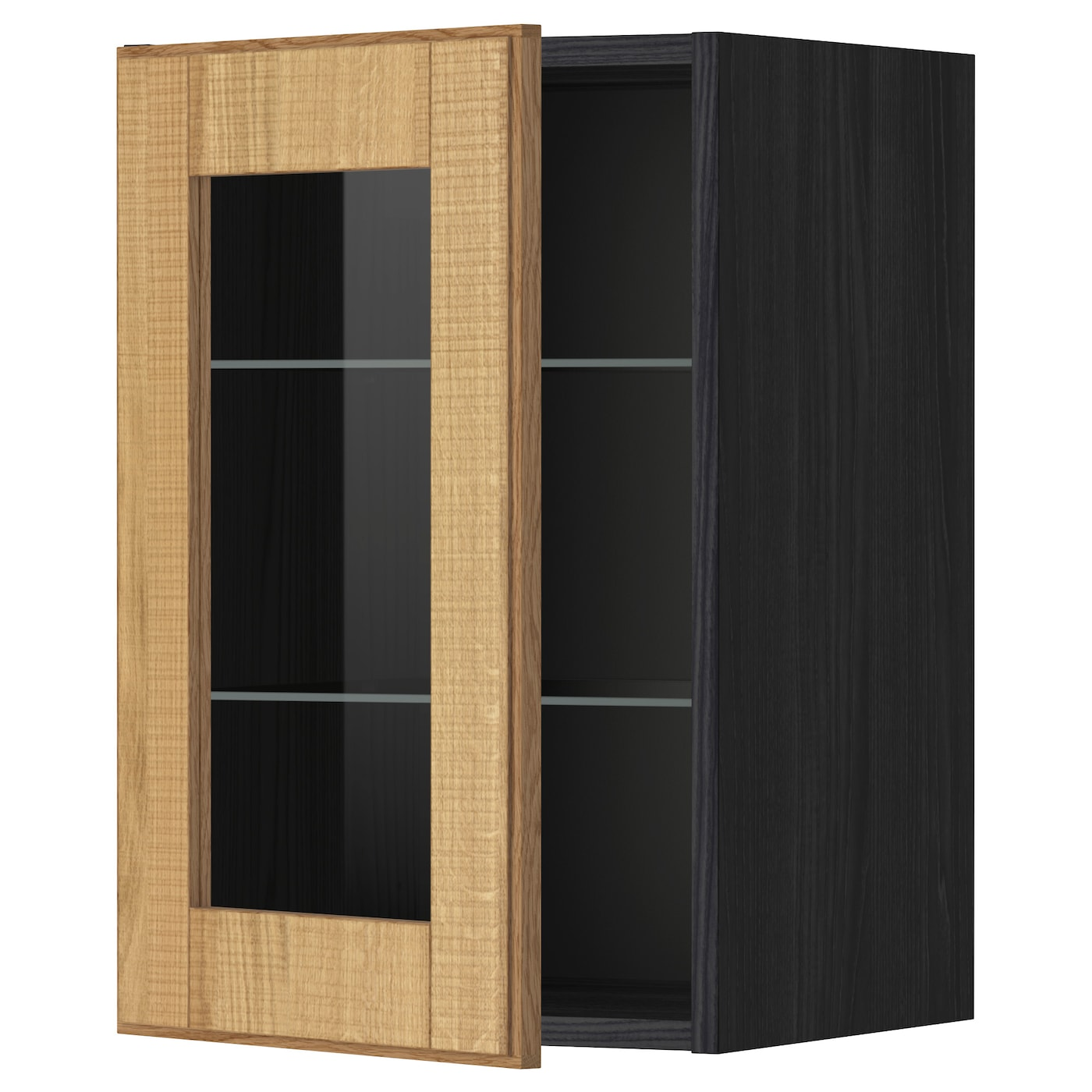 Metod wall cabinet w shelves glass door black hyttan oak for Glass kitchen wall units