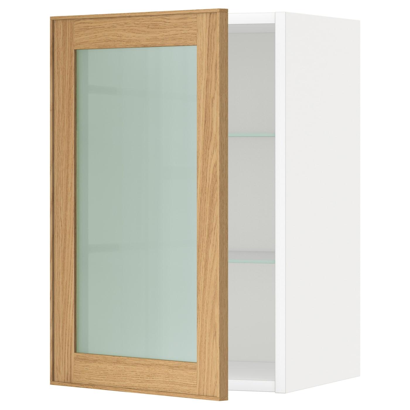 METOD Wall Cabinet W Shelves/glass Door White/ekestad Oak