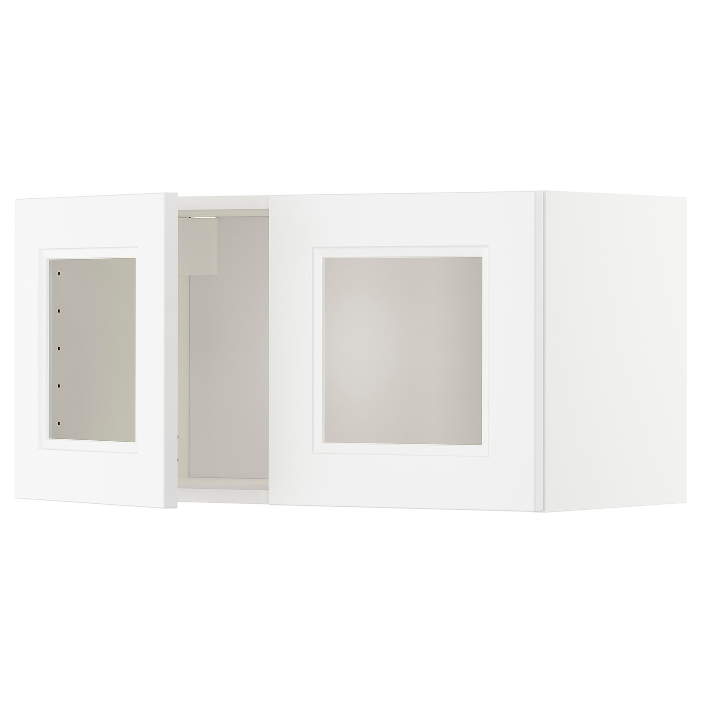 IKEA METOD wall cabinet with 2 glass doors Sturdy frame construction, 18 mm thick.
