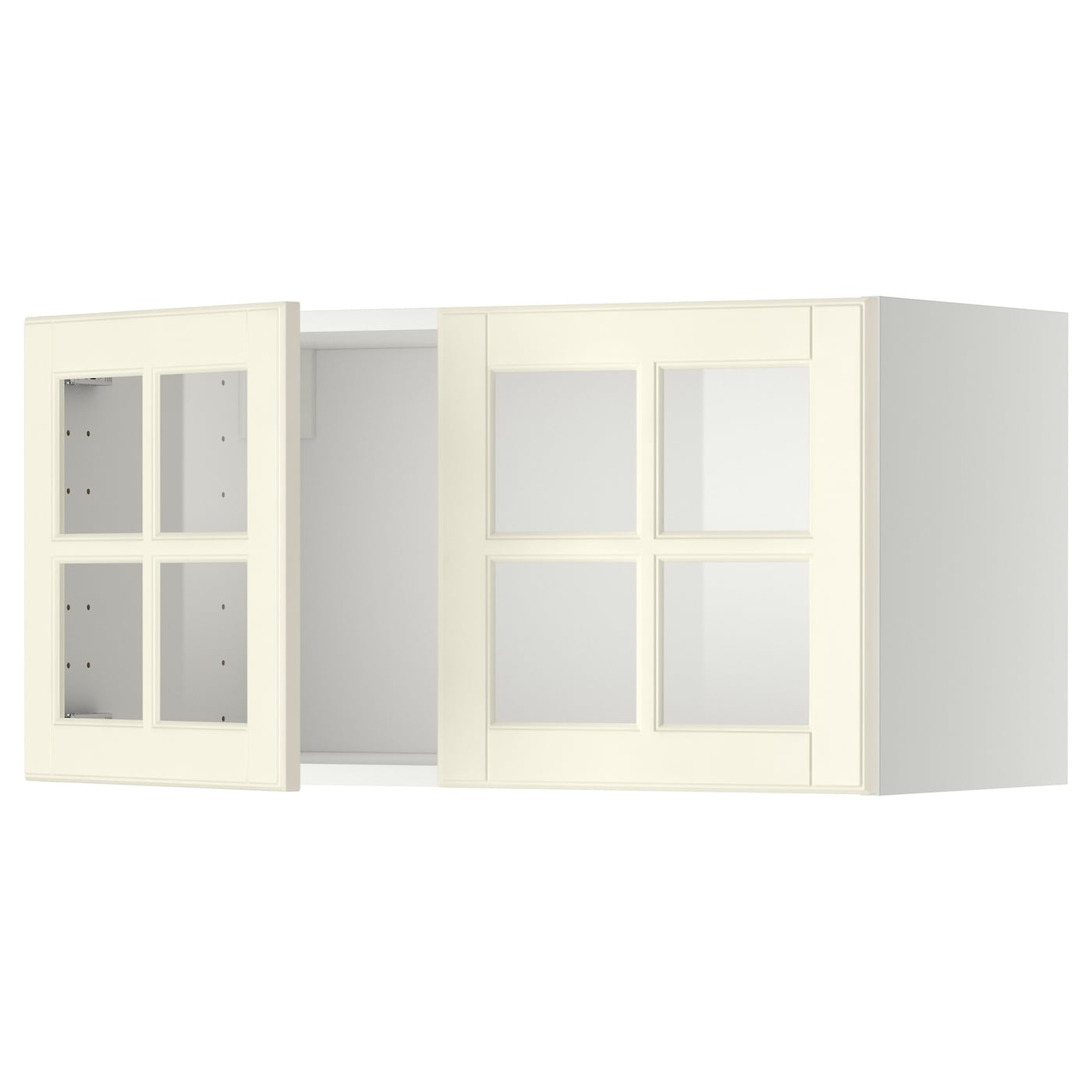 Metod wall cabinet with 2 glass doors white bodbyn off for Ikea glass door wall cabinet