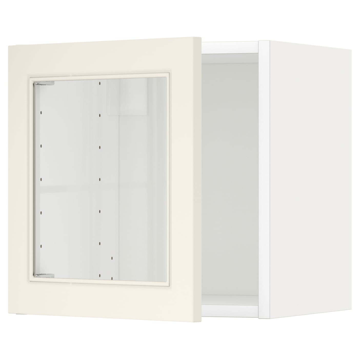 Metod wall cabinet with glass door white hittarp off white for Glass kitchen wall units