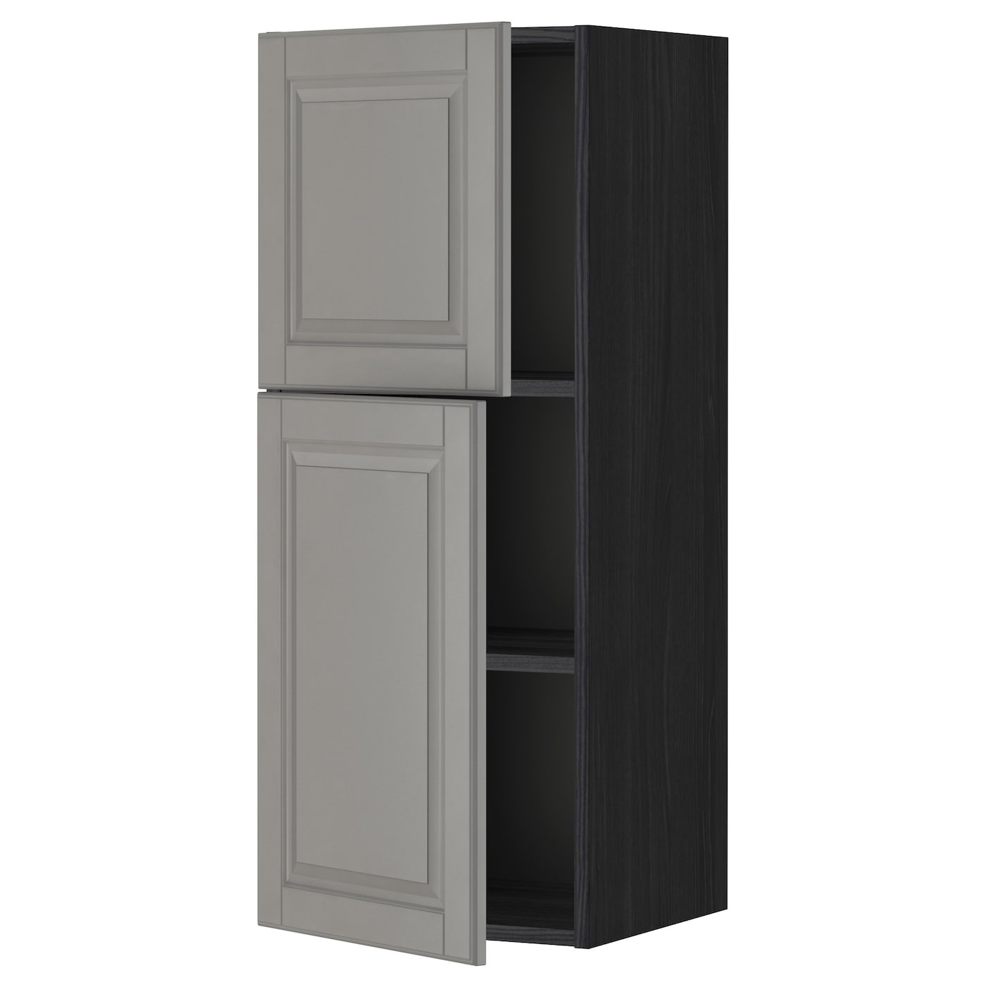 Metod Wall Cabinet With Shelves: METOD Wall Cabinet With Shelves/2 Doors Black/bodbyn Grey