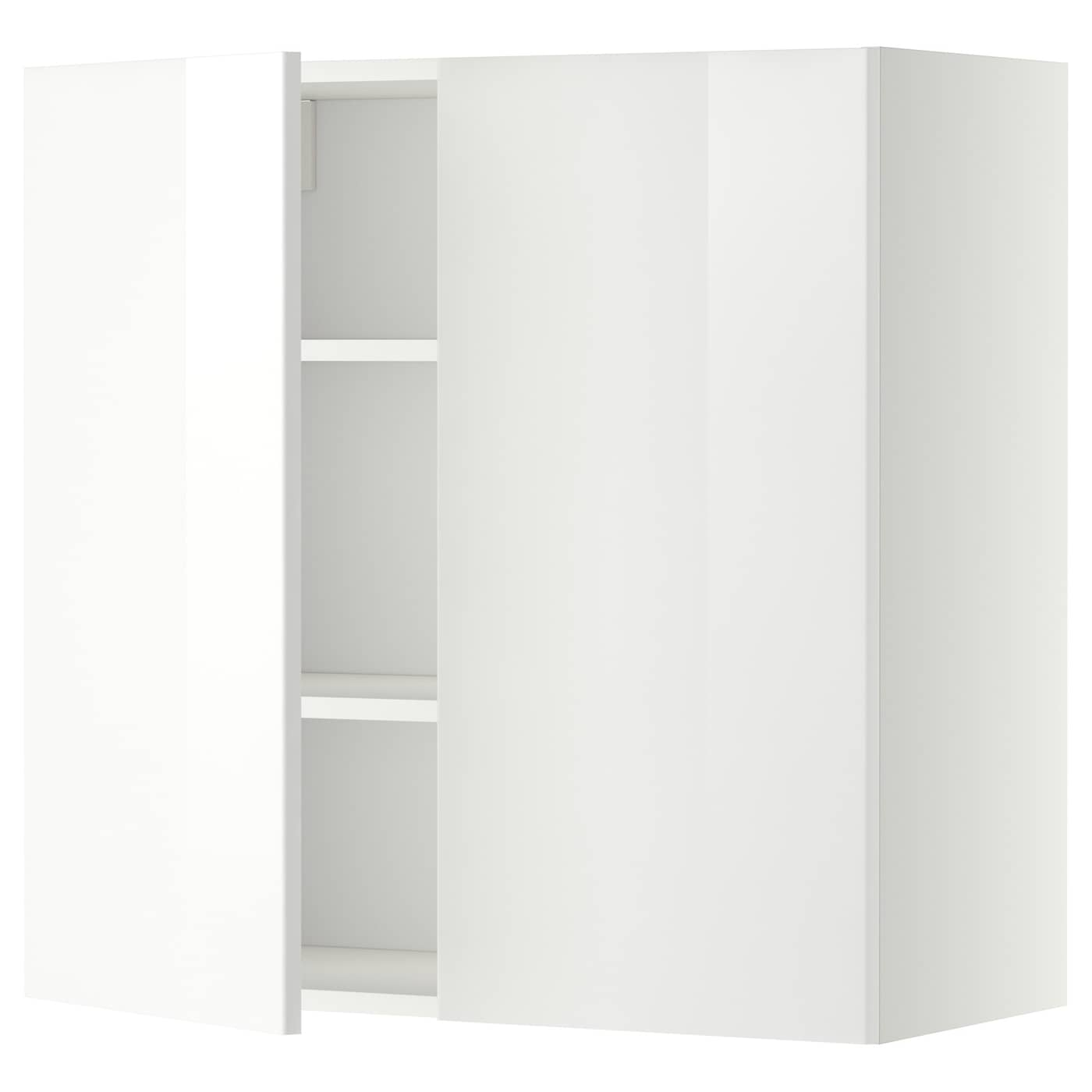 metod wall cabinet with shelves 2 doors white ringhult. Black Bedroom Furniture Sets. Home Design Ideas