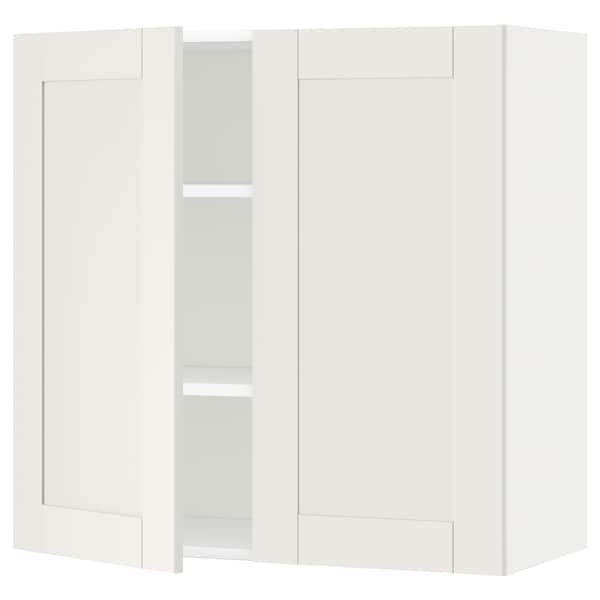 METOD Wall cabinet with shelves/2 doors, white/Sävedal white, 80x80 cm