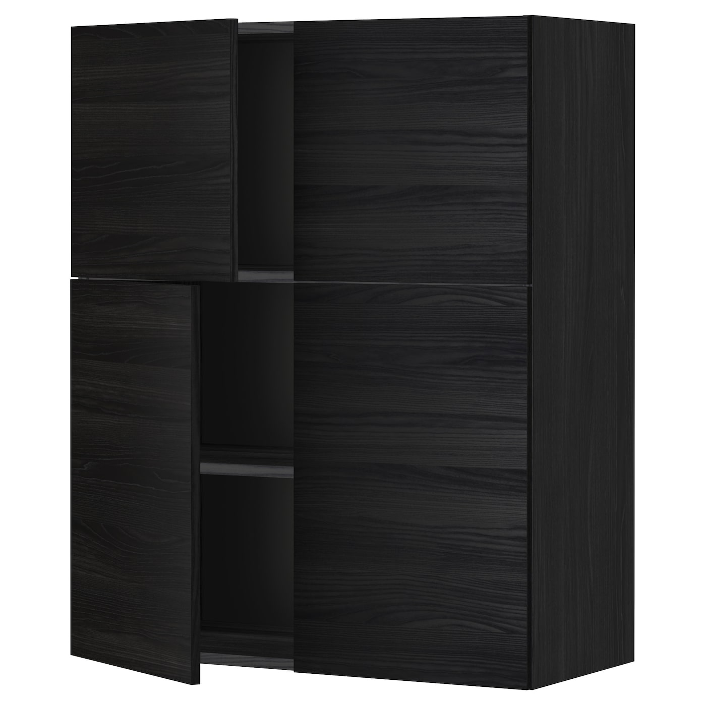 metod wall cabinet with shelves 4 doors black tingsryd. Black Bedroom Furniture Sets. Home Design Ideas