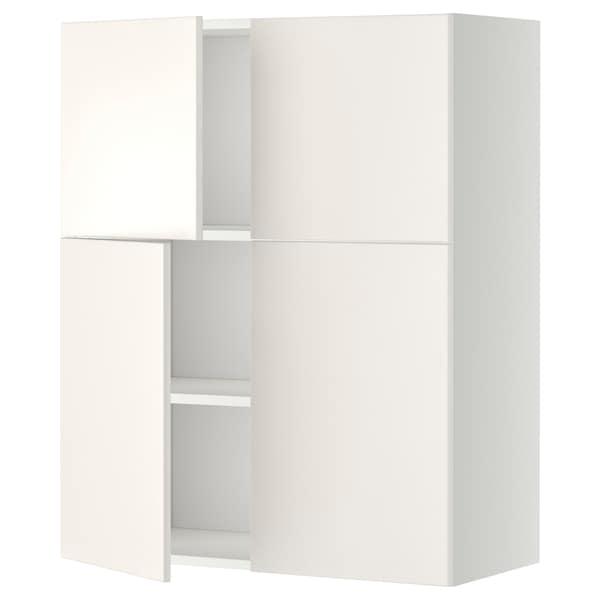 METOD Wall cabinet with shelves/4 doors, white/Veddinge white, 80x100 cm