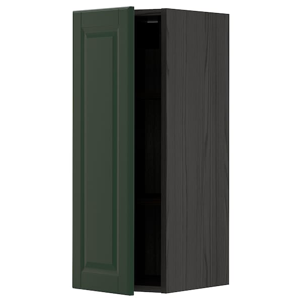METOD Wall cabinet with shelves, black/Bodbyn dark green, 30x80 cm