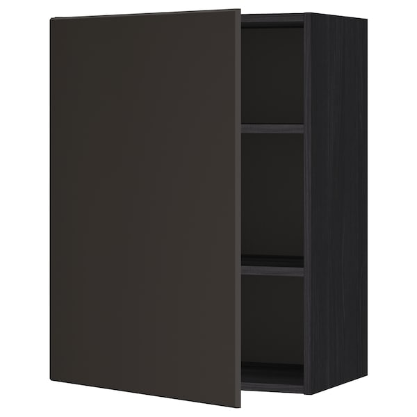 METOD Wall cabinet with shelves, black/Kungsbacka anthracite, 60x80 cm