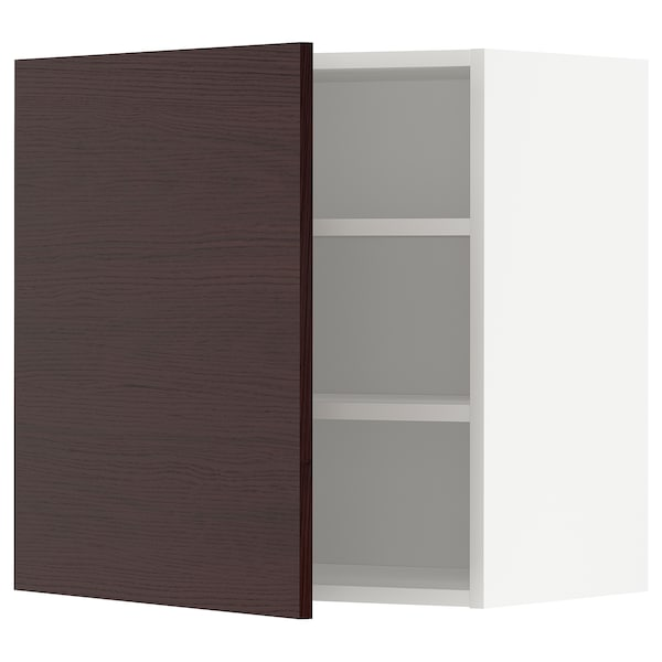 METOD Wall cabinet with shelves, white Askersund/dark brown ash effect, 60x60 cm