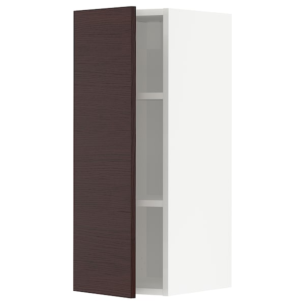 METOD Wall cabinet with shelves, white Askersund/dark brown ash effect, 30x80 cm
