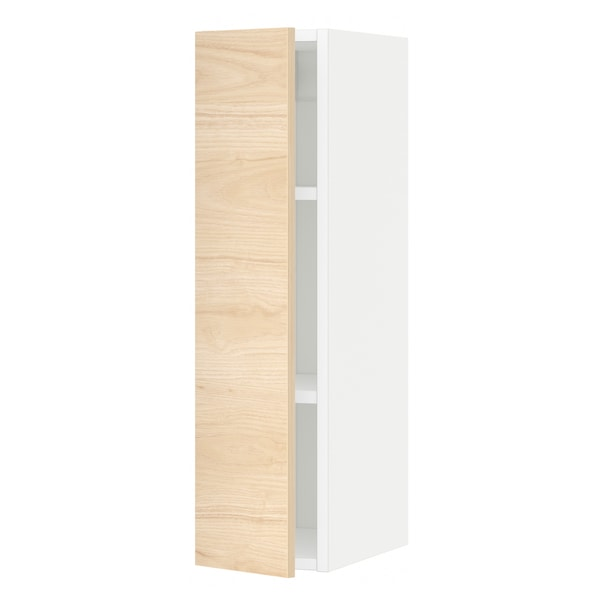 METOD Wall cabinet with shelves, white/Askersund light ash effect, 20x80 cm