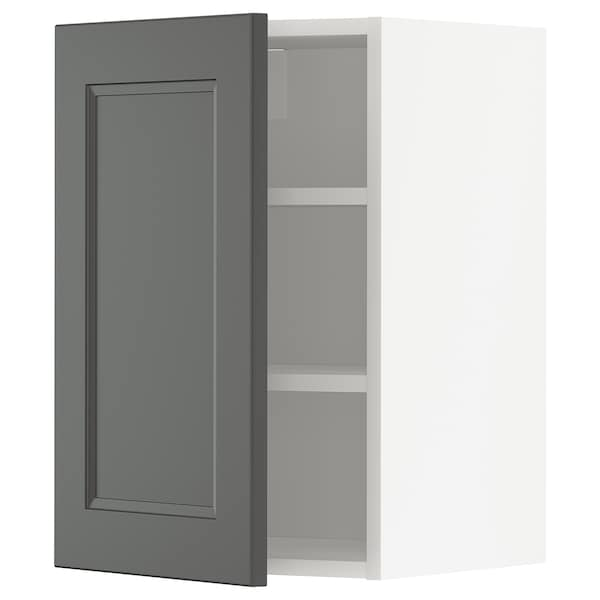 METOD Wall cabinet with shelves, white/Axstad dark grey, 40x60 cm