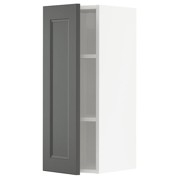 METOD Wall cabinet with shelves, white/Axstad dark grey, 30x80 cm