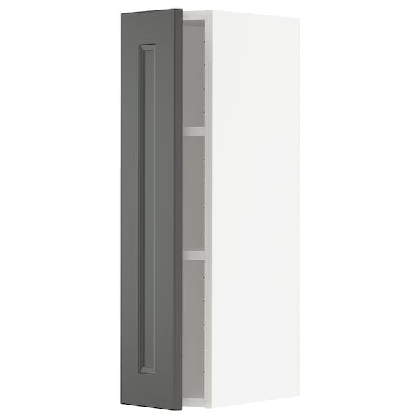 METOD Wall cabinet with shelves, white/Axstad dark grey, 20x80 cm