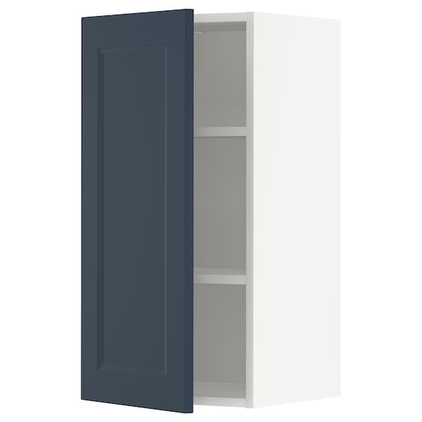 METOD Wall cabinet with shelves, white Axstad/matt blue, 40x80 cm