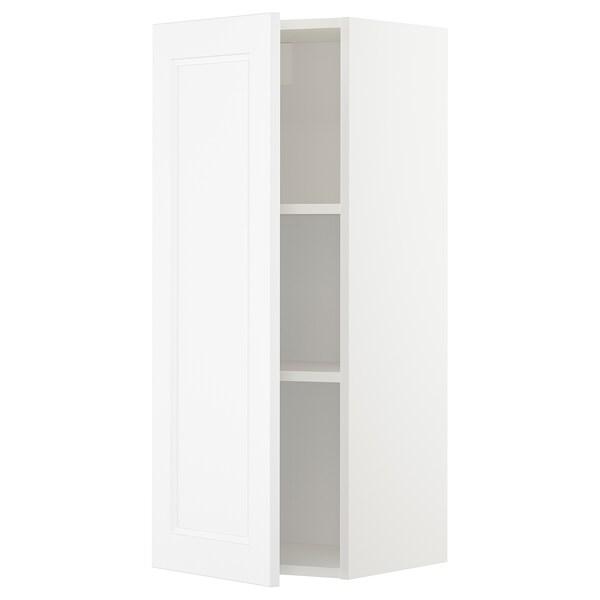 METOD Wall cabinet with shelves, white/Axstad matt white, 40x100 cm