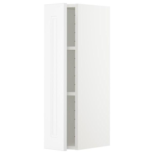 METOD Wall cabinet with shelves, white/Axstad matt white, 20x80 cm