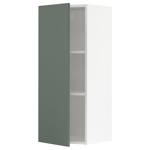 METOD Wall cabinet with shelves, white/Bodarp grey-green, 40x100 cm