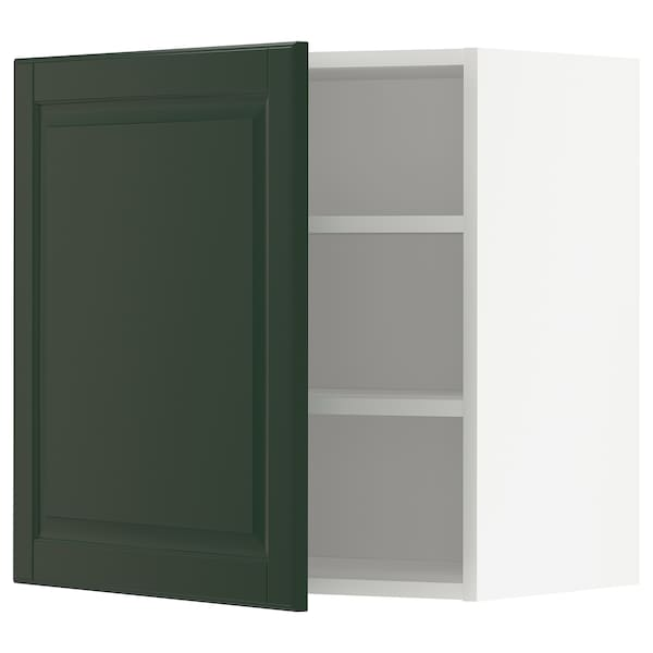 METOD Wall cabinet with shelves, white/Bodbyn dark green, 60x60 cm
