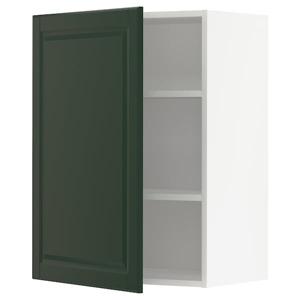 METOD Wall cabinet with shelves, white/Bodbyn dark green, 60x80 cm