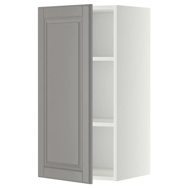 METOD Wall cabinet with shelves, white/Bodbyn grey, 40x80 cm
