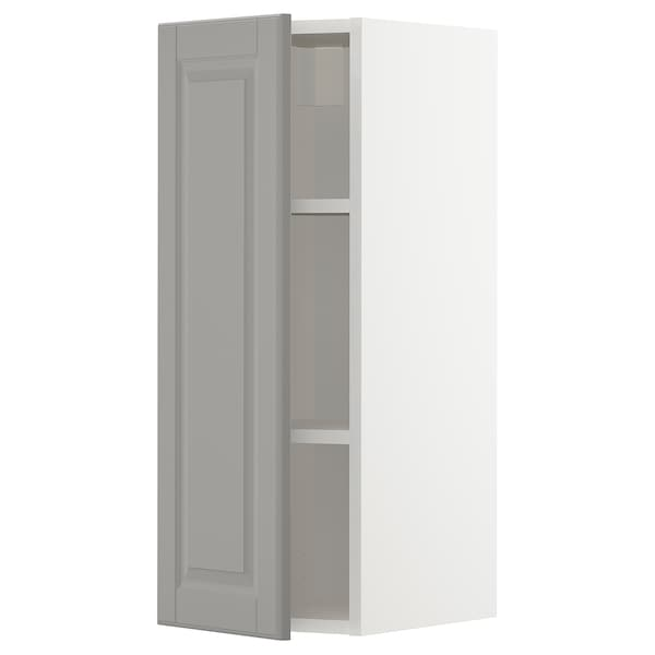 METOD Wall cabinet with shelves, white/Bodbyn grey, 30x80 cm